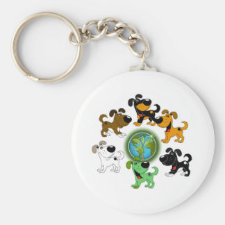 ¡Día de la Tierra! - Hoja y cinco perritos Llavero Redondo Tipo Pin