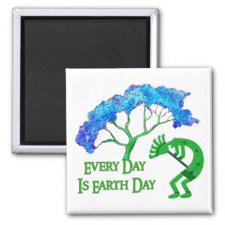 Día de la Tierra Kokopelli Imán Cuadrado