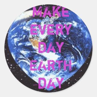 Día de la Tierra Etiqueta Redonda