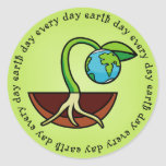 Día de la Tierra pegatinas de cada día Etiqueta Redonda