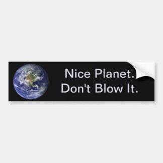 Día de la Tierra: Planeta agradable--No lo sople Pegatina De Parachoque