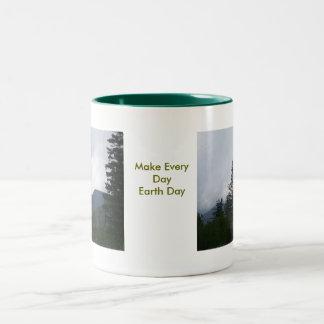 Día de la Tierra Taza Dos Tonos