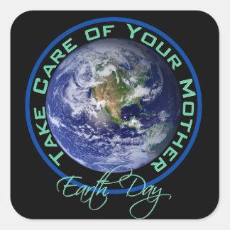 Día de la Tierra - tome el cuidado de su madre Colcomanias Cuadradass