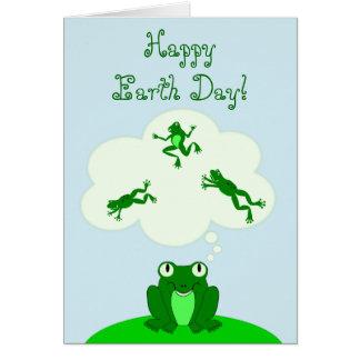 ¡Día de la Tierra verde feliz con la rana de Tarjeta Pequeña
