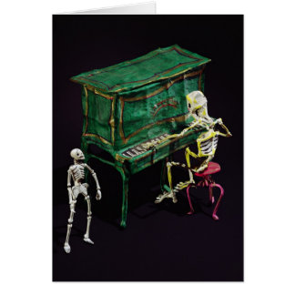 Día de las figuras muertas como músicos tarjeta de felicitación