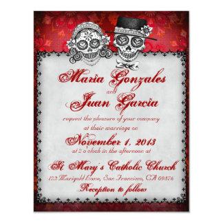 Día de las invitaciones muertas 2 del boda del invitación 10,8 x 13,9 cm