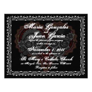 Día de las invitaciones muertas del boda anuncio personalizado