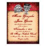 Día de las invitaciones muertas del boda del cráne anuncio personalizado