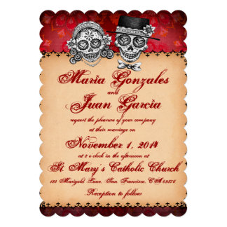 Día de las invitaciones muertas del boda del cráne