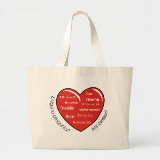 dia de las madres heart jumbo tote bag
