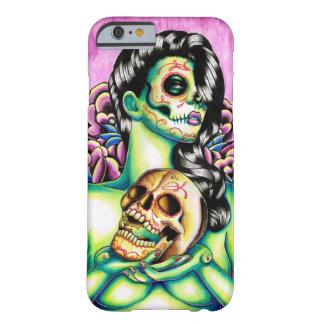 Día de las memorias del chica muerto del cráneo funda de iPhone 6 barely there