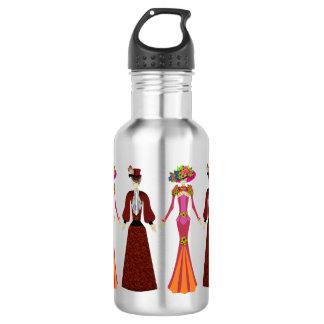 Día de las muñecas esqueléticas muertas botella de agua