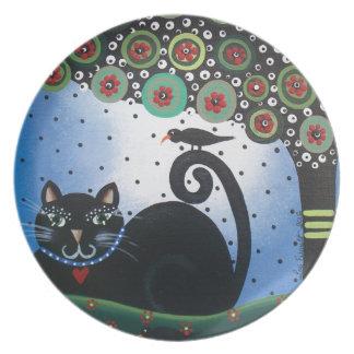 Día de Lorri Everett_ del Dead_ Cat_Mexican negro Plato Para Fiesta