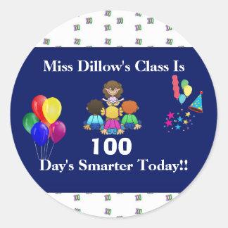 Día de los 100 del profesor de pegatinas de la pegatina redonda
