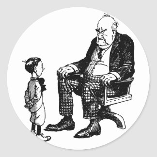 Día de los abuelos - abuelo y niño etiqueta redonda