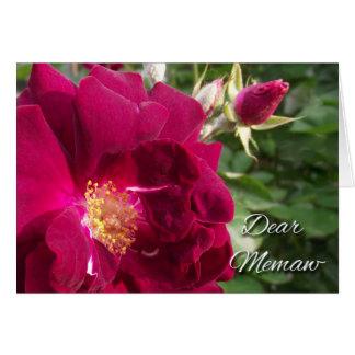 Día de los abuelos para Memaw, el rosa rojo y el Tarjeta De Felicitación