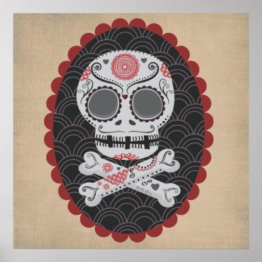 Día de los calaveras muertos de Skull Día de los Póster