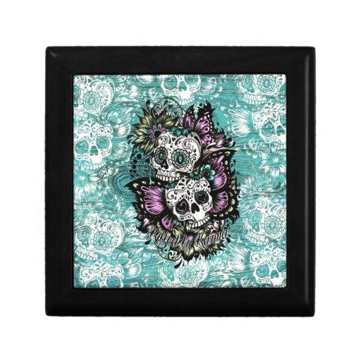 Día de los cráneos florales muertos de la mariposa cajas de regalo