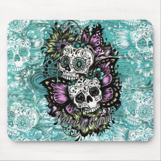Día de los cráneos florales muertos de la mariposa mousepads