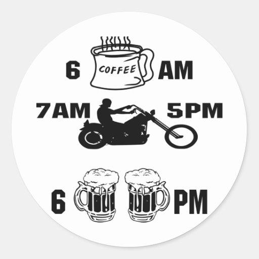 Día de los motoristas; Café, montar a caballo y ce Etiqueta Redonda