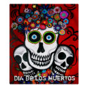 Dia de los mUertos 3 skulls poster print
