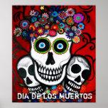 Dia de los mUertos 3 skulls poster Posters