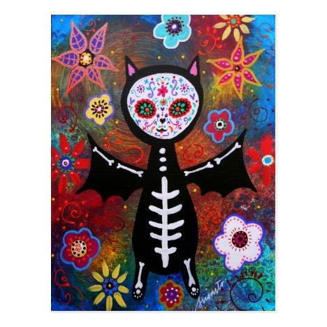 Dia de los Muertos Bat by Prisarts Postcard