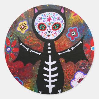 Dia de los Muertos Bat by Prisarts Round Stickers