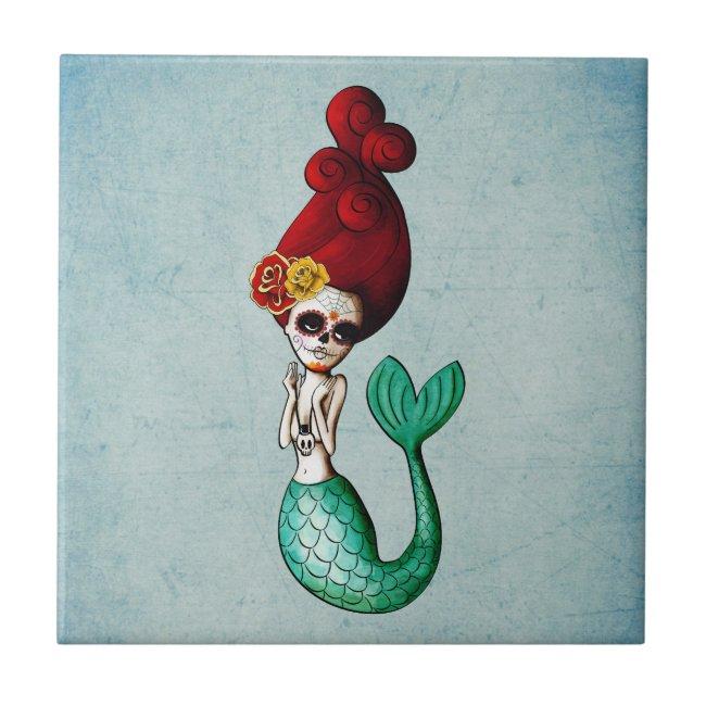 Dia de Los Muertos Beautiful Mermaid Ceramic Tile