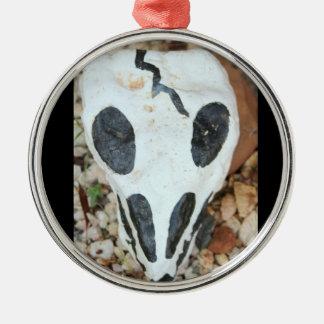 Dia de los Muertos black/white painted skull Metal Ornament