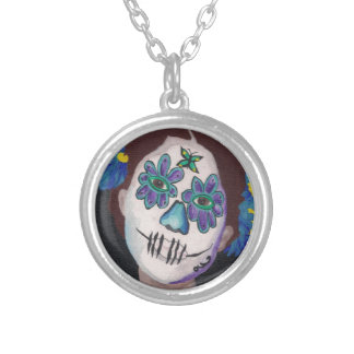 Dia De Los Muertos Blue Lady Necklace