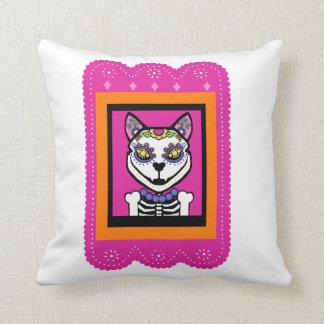 Dia de los Muertos Cat Cojín Decorativo