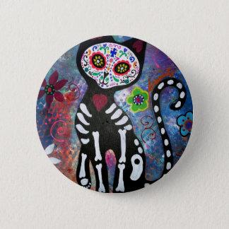 Dia de los Muertos Cat Pinback Button