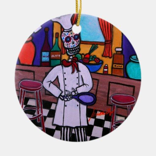 Dia de los Muertos Chef Adorno Redondo De Cerámica