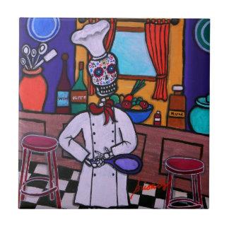 Dia de los Muertos Chef Azulejo Cuadrado Pequeño