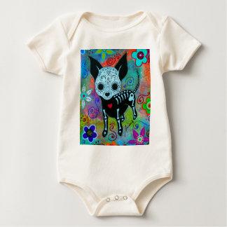 DIA DE LOS MUERTOS CHIHUAHUA by Prisarts Baby Bodysuit