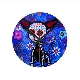 Dia de los Muertos Chihuahua Dog Lover Round Clock