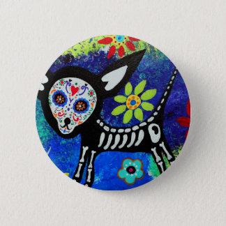 Dia de los Muertos Chihuahua Pinback Button