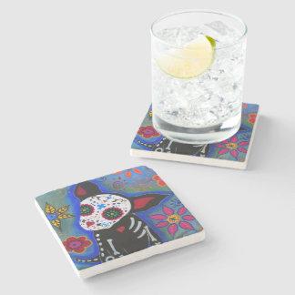 Dia de los Muertos Chihuahua Stone Coaster