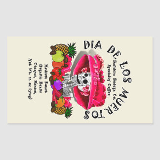 Dia De Los Muertos  Coffee (Special Request) Rectangular Sticker