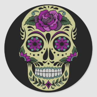 Día de los muertos con color de rosa púrpura pegatina redonda