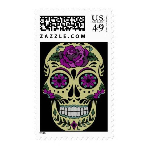Día de los muertos con color de rosa púrpura franqueo
