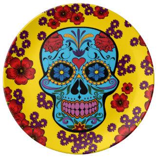Día de los muertos con las flores plato de cerámica