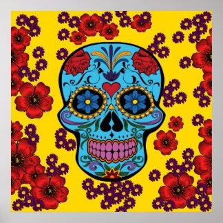 Día de los muertos con las flores póster