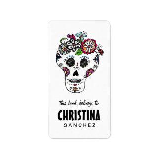 Dia de Los Muertos, cráneo del azúcar, Bookplates Etiquetas De Dirección