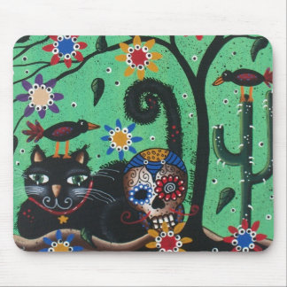 Día de los muertos, cráneos del azúcar, gato negro tapete de ratón