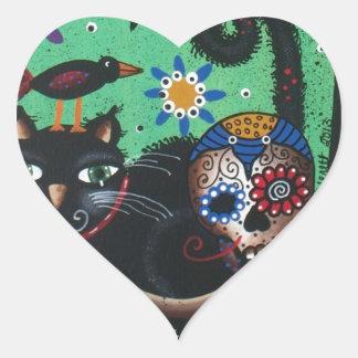 Día de los muertos, cráneos del azúcar, gato pegatina en forma de corazón