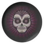 Dia de los Muertos decorative spiderweb skull Plates
