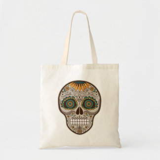 Dia de los Muertos decorative sunflower skull Budget Tote Bag