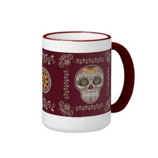 Dia de los Muertos decorative sunflower skull Ringer Mug